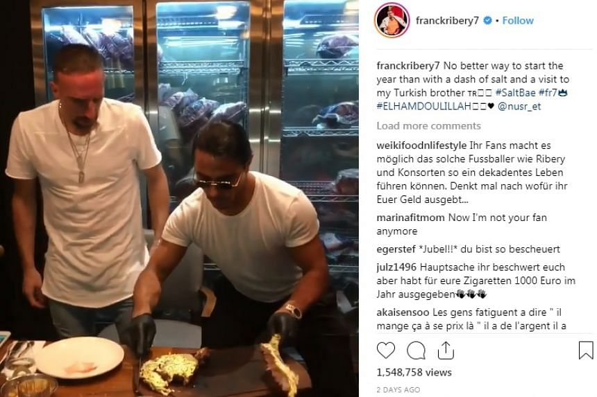 "Ribery (left) with ""Salt Bae"" in a screenshot from the video he posted on Instagram."