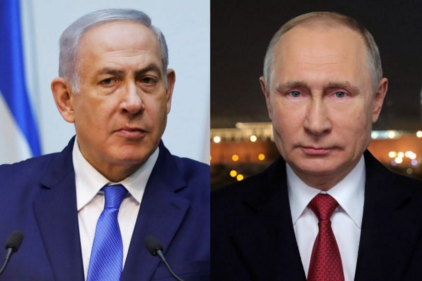 """Netanyahu (left) and Putin """"discussed the situation in Syria and recent developments and agreed on continued coordination between the (Israeli and Russian) militaries""""."""