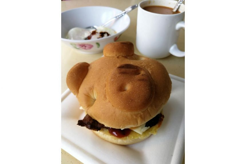 The pork patty sandwiched in a bun comes in a set ($5), which also includes two soft-boiled eggs and a cup of hot coffee or tea.
