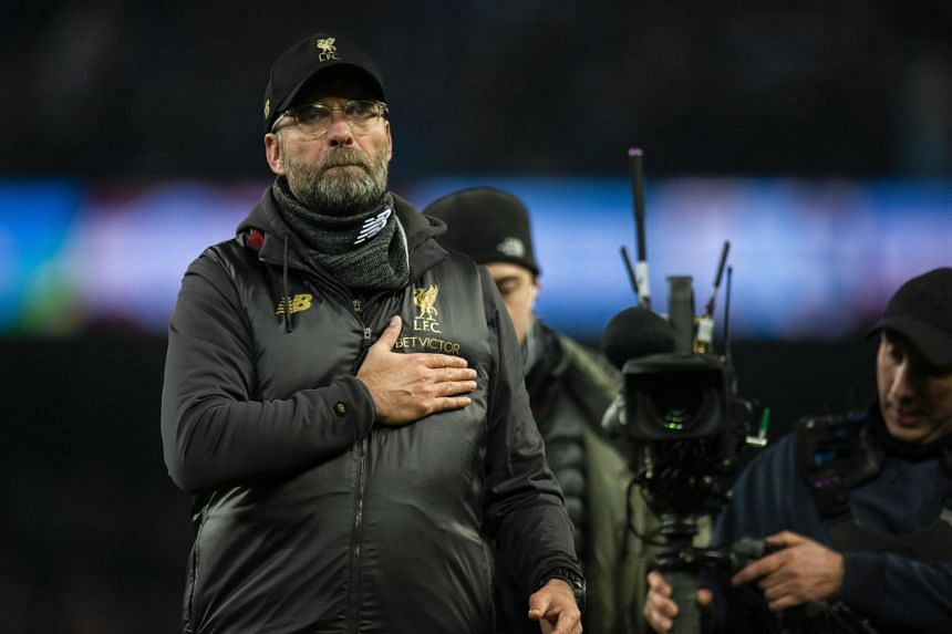 Liverpool's manager Jurgen Klopp reacts after the English Premier League soccer match between Manchester City and Liverpool, on Jan 3, 2019.