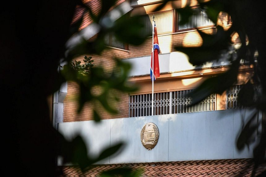The flag of North Korea is pictured on the facade of North Korea's embassy in Italy on Jan 3, 2019, in Rome.