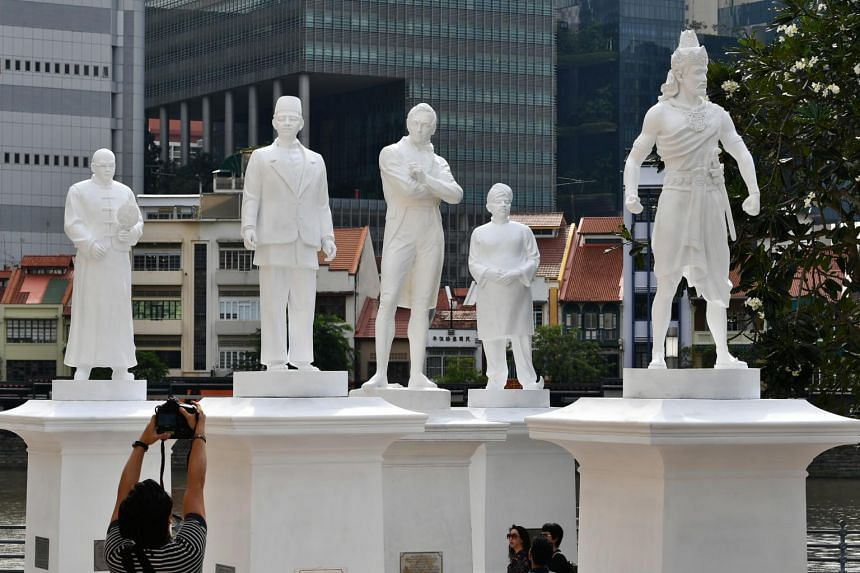 Four more statues have risen along the Singapore River next to the iconic one of Sir Stamford Raffles on Jan 4, 2018.
