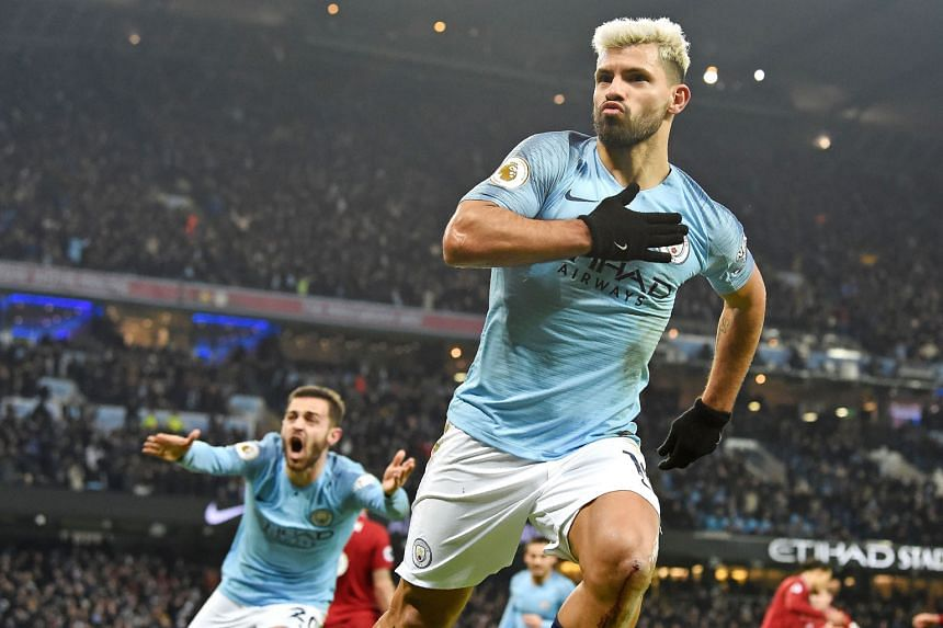 Striker Sergio Aguero is ecstatic after scoring City's opening goal against Liverpool in their Premier League match at the Etihad Stadium on Thursday.