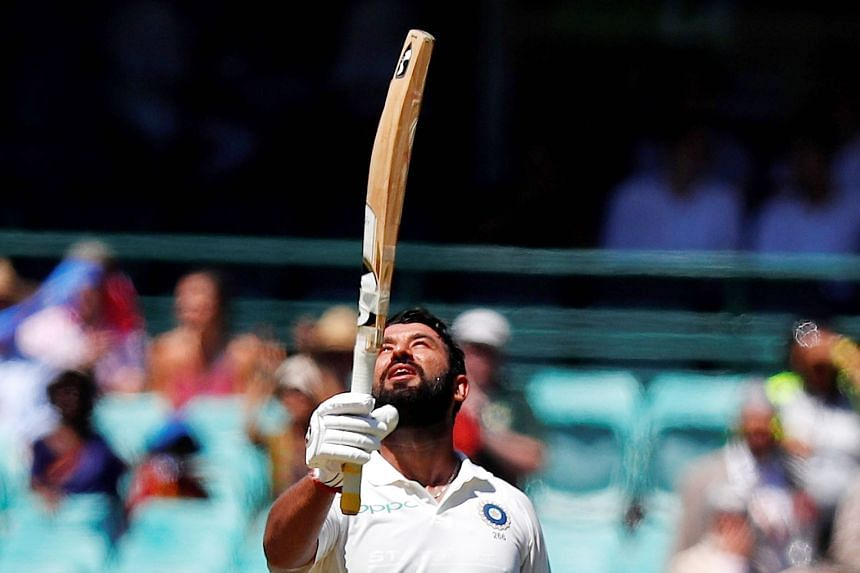 Above: India's Cheteshwar Pujara celebrating after reaching 150 runs in the fourth and final cricket Test against Australia in Sydney. He fell seven runs short of a double ton. Right: Rishabh Pant was 159 not out when India captain Virat Kohli declar