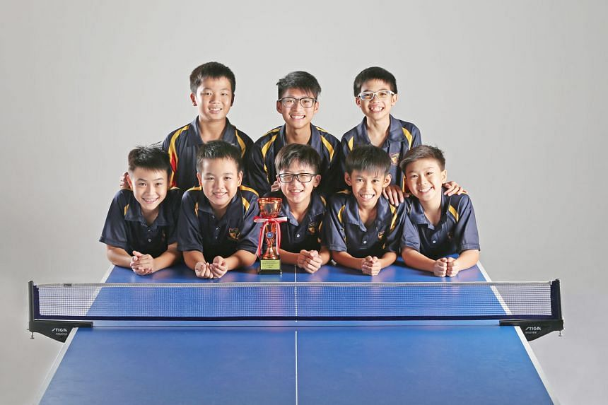 The ACS (Barker Road) C Division squad comprise (front row, from left): Silas Chua, Ryan Chong, Ethan Ong, Ryan Eng and Benjamin Wee, and (back row, from left) Ethan Chua, Ryan Tan and Seth Wong.