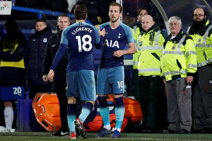 Tottenham's Harry Kane comes on as a substitute to replace Fernando Llorente during the English FA Cup third round football against Tranmere Rovers at Prenton Park, on Jan 4, 2019.