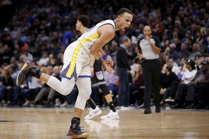Golden State Warriors' Stephen Curry celebrates after making a three point basket against the Sacramento Kings in the fourth quarter at Golden 1 Center, on Jan 5, 2019.