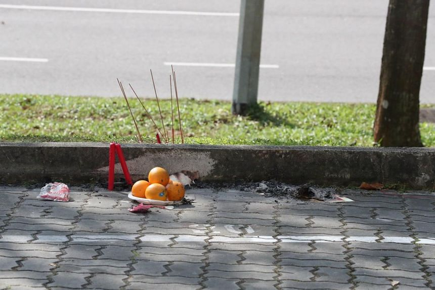 Offerings placed near the scene of the accident at Woodlands Close, on Jan 6, 2019.