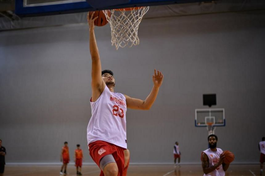 Singapore Slingers power forward Delvin Goh (pictured) helped his team defeat the Formosa Dreamers in their ABL match on Jan 6, 2019.