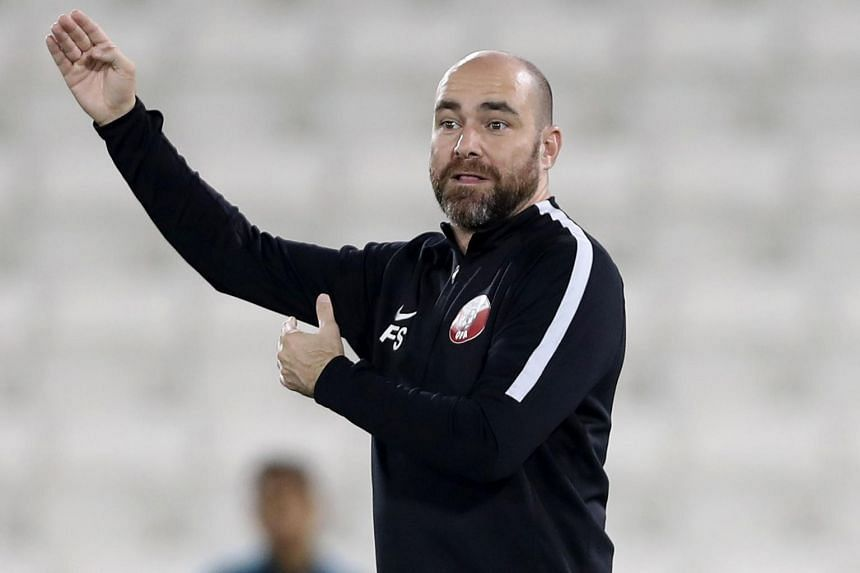 Qatar's coach Felix Sanchez Bas looks on during a training session as his team prepares for the 2019 edition of the AFC Asian cup, in Doha, Qatar, on Dec 22, 2018.