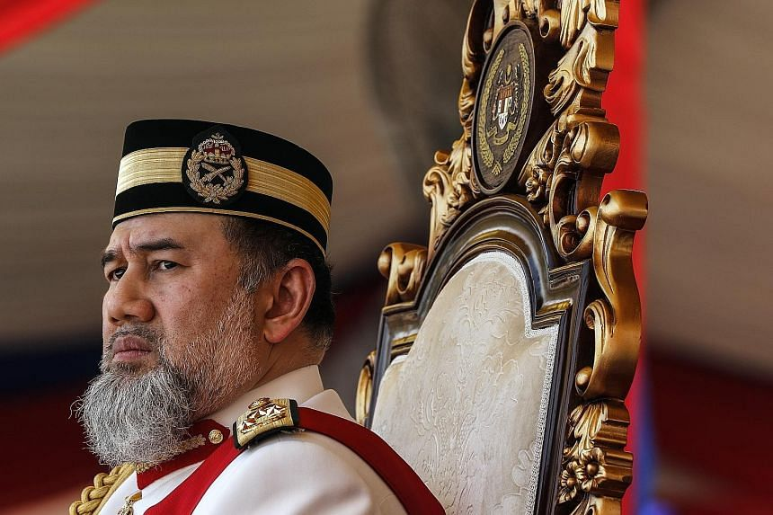 Malaysia's King Sultan Muhammad V at the Trooping of Colours ceremony, in conjunction with his official birthday, in Putrajaya last September. His resignation as the 15th King of Malaysia comes just two years after he ascended to the post in December