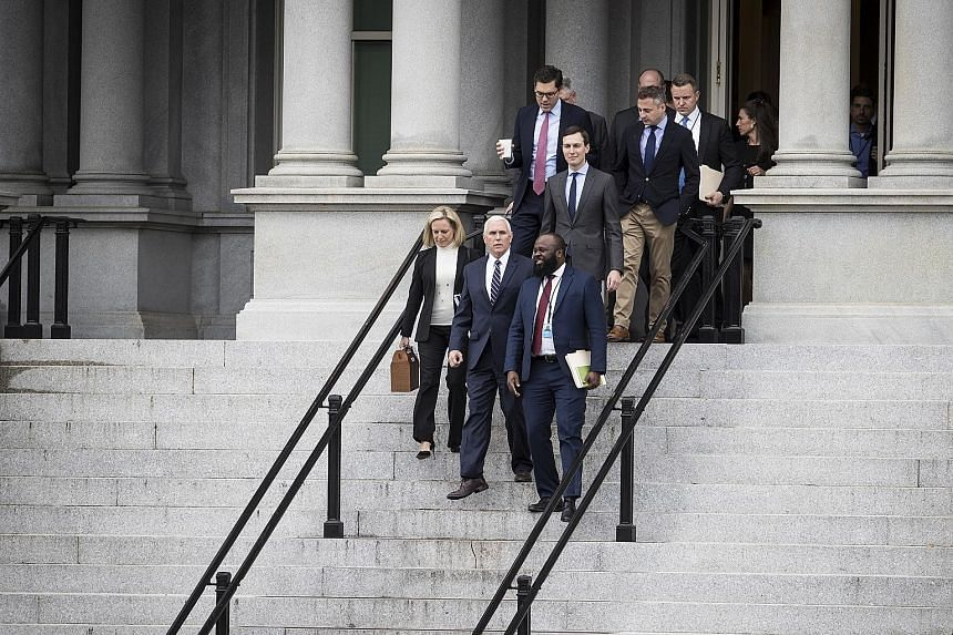 (Front row, from left) Homeland Security Secretary Kirstjen Nielsen, Vice-President Mike Pence and senior adviser Jared Kushner (second row) were among those at the meeting.