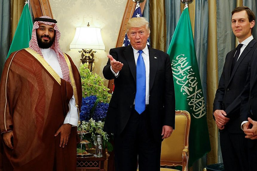 (From left) Saudi Arabia's Crown Prince Mohammed bin Salman and US President Donald Trump with White House senior adviser Jared Kushner, who is helping to broker a peace deal between Israelis and Palestinians.