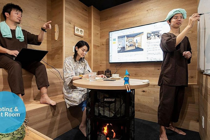 A sauna run by Skyspa Yokohama in Japan doubles as a conference room, where business executives can also conduct work-related meetings.