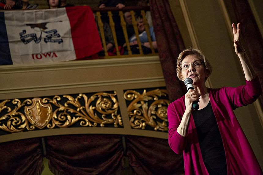 Senator Elizabeth Warren speaking at an event last Saturday in Sioux City, Iowa. During her visit to the state, she spoke out against income inequality, among other things.
