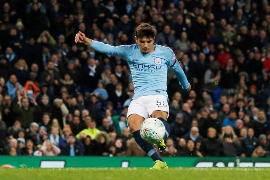 Manchester City's Brahim Diaz scores the second goal at the Etihad Stadium, Manchester, Britain, on Nov 1, 2018.