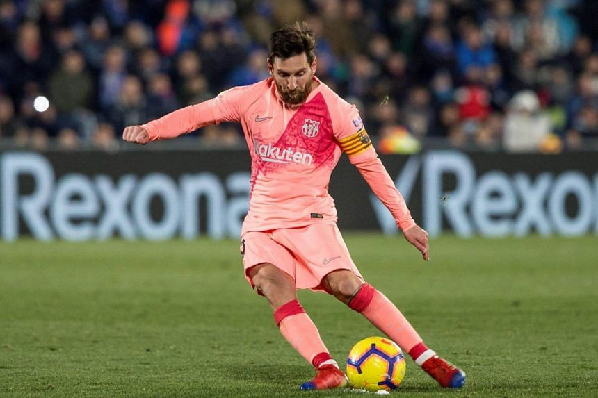 Barcelona's Messi in action during the Spanish LaLiga match against Getafe at the Coliseum Alfonso Perez stadium in Madrid, Spain, on Jan 6, 2019.