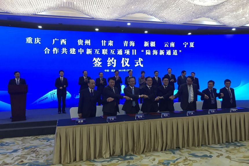 Eight Chinese provinces, autonomous regions and city - Chongqing, Guangxi, Guizhou, Gansu, Qinghai, Xinjiang, Yunnan and Ningxia - signed a pact to cooperate on the building of the new land and sea trade corridor.