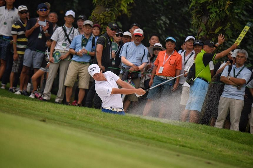 Japan's Ryo Ishiokawa plays a bunker shot during the third day of the SMBC Singapore Open held at Sentosa Golf Club's Serapong Course on Jan 20, 2019.