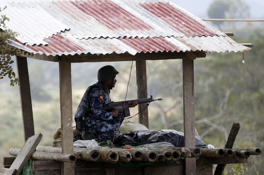 A Myanmar border guard police officer mans his station at the Goke Pi police outpost in northern Rakhine State, Myanmar, on Jan 7, 2019.