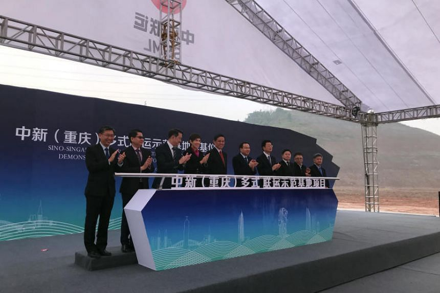 Trade and Industry Minister Chan Chun Sing at the ground-breaking ceremony for the Multi-Modal Distribution and Connectivity Centre in Chongqing on Jan 7, 2019.