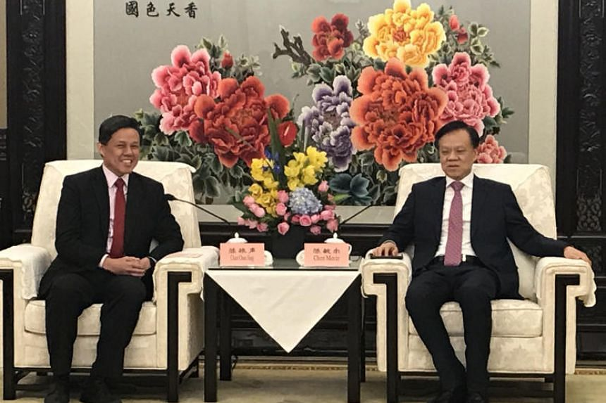 Trade and Industry Minister Chan Chun Sing with Chongqing party boss Chen Min'er in Chongqing on Jan 7, 2019.