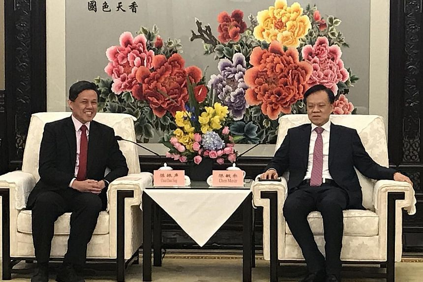Trade and Industry Minister Chan Chun Sing and Chongqing party boss Chen Min'er met yesterday to discuss the progress of the Chongqing Connectivity Initiative, a joint project between Singapore and China. Officials of the eight Chinese provinces - Ch