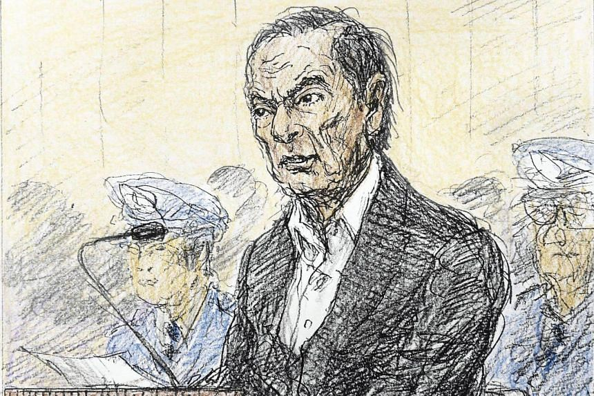A court sketch shows ousted Nissan Motor chairman Carlos Ghosn during an open hearing at Tokyo District Court in Tokyo, on Jan 8, 2019.