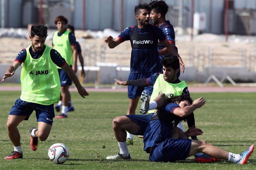 Players of Iraq's national football team attend a training session as they prepare for the 2019 edition of the AFC Asian cup, in Doha, on Dec 22, 2018.