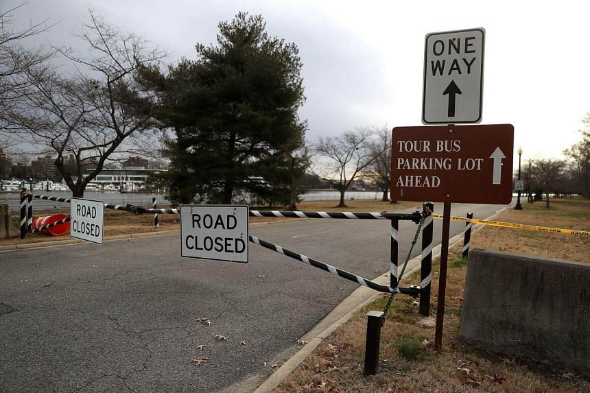 The road that leads to Hains Point at East Potomac Park is closed due the government shutdown, on Jan 7, 2019, in Washington, DC.
