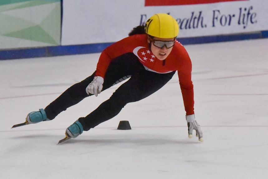 Cheyenne Goh at the SEA Open Short Track Trophy 500m finals on Jan 5, 2019.