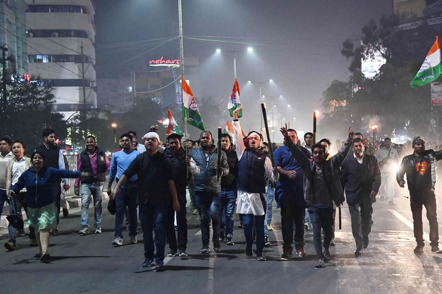 Activists shout slogans during a rally in protest against Citizenship Amendment Bill 2016, which will provide citizenship or stay rights to minorities from Bangladesh, Pakistan and Afghanistan in India, Guwahati on Jan 7, 2019.