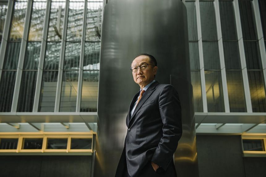 Jim Yong Kim, the president of the World Bank, at the international body's headquarters in Washington on Jan. 4, 2018.  Mr Kim, who became the bank's president in 2012, announced he would step down February 1.