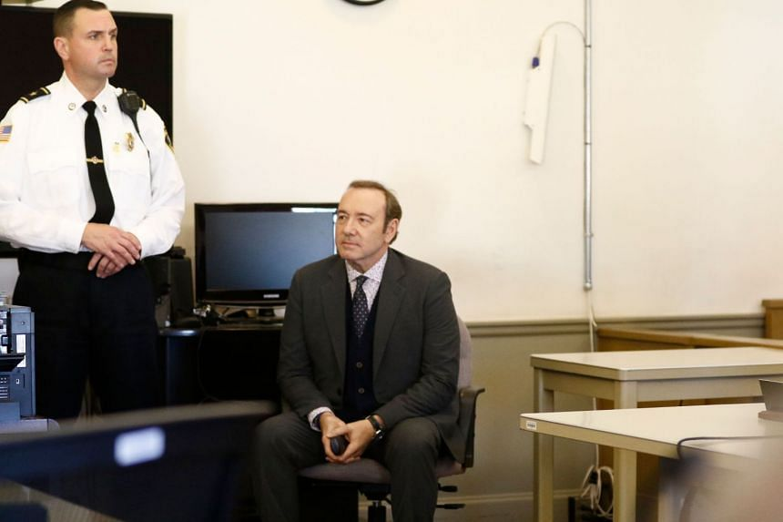 Kevin Spacey sits in while legal teams meet during his arraignment at Nantucket District Court in Nantucket, Massachusetts, on Jan 7, 2019.