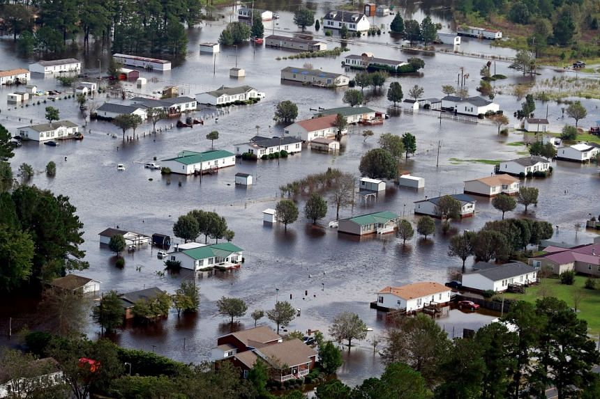 An aerial view of houses in floodwater caused by Hurricane Florence on the outskirts of Lumberton, North Carolina, on Sept 17, 2018.