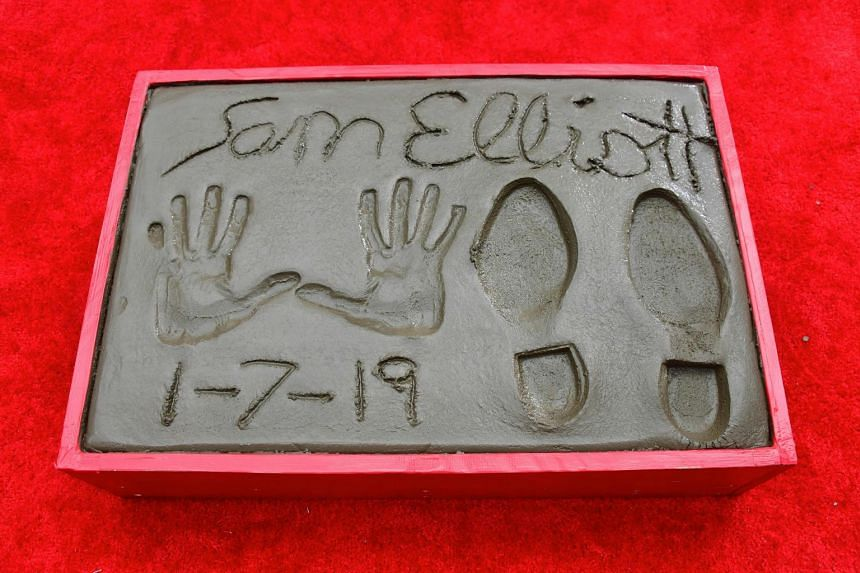 Sam Elliott imprinted his hands and feet in cement in Hollywood Boulevard on Jan 8, 2019.