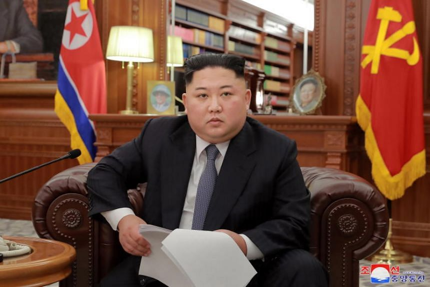 North Korean leader Kim Jong Un making an address to mark the new year in Pyongyang on Jan 1, 2019.