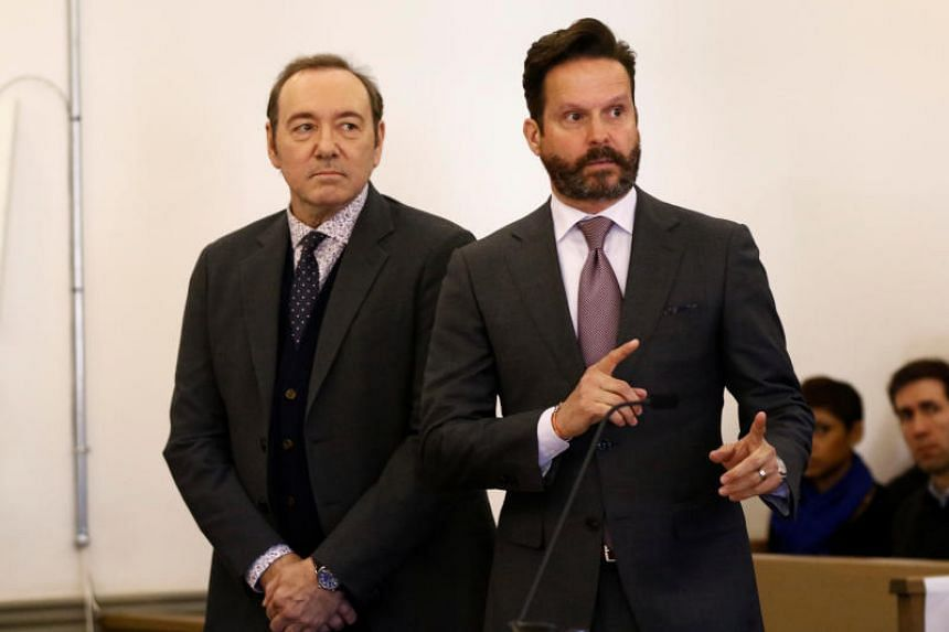 Actor Kevin Spacey, with his lawyer Alan Jackson at his side, is arraigned on a sexual assault charge at Nantucket District Court in Nantucket, Massachusetts, US, on Jan 7, 2019.