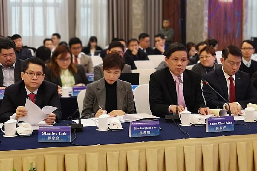 (From left) Singapore's Ambassador to China Stanley Loh, Manpower Minister Josephine Teo, Trade and Industry Minister Chan Chun Sing and Senior Minister of State for Health and Transport Lam Pin Min at the Chongqing Connectivity Initiative Joint Impl
