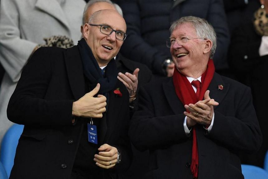 Manchester United owner Joel Glazer (left) and former United manager Alex Ferguson in the stands during the English Premier League match between Manchester City and Manchester United at the Etihad Stadium on Nov 11, 2018.