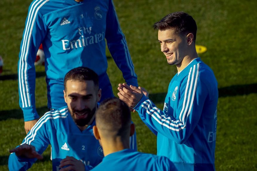 Diaz (right) attends his first training session with Real Madrid.