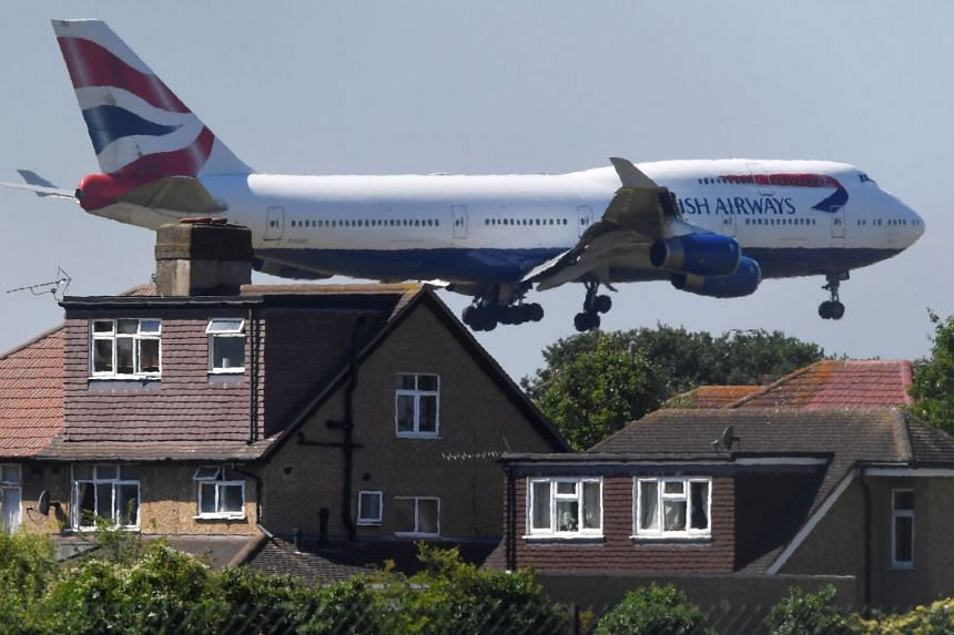 A British Airways Boeing 747 coming in to land at Heathrow Airport in June 2018.