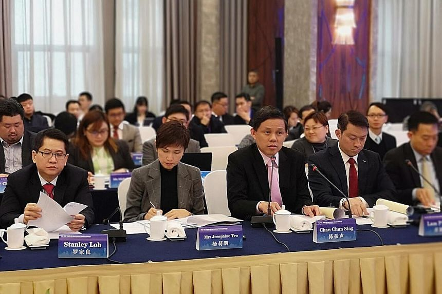 (From left) Singapore's Ambassador to China Stanley Loh, Manpower Minister Josephine Teo, Trade and Industry Minister Chan Chun Sing, Senior Minister of State for Health and Transport Lam Pin Min and Enterprise Singapore chief executive Png Cheong Bo