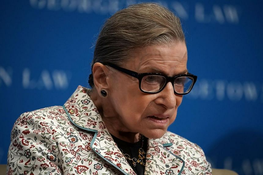 Judge Ruth Bader Ginsburg participating in a lecture at Georgetown University Law Center, on Sept 26, 2018.