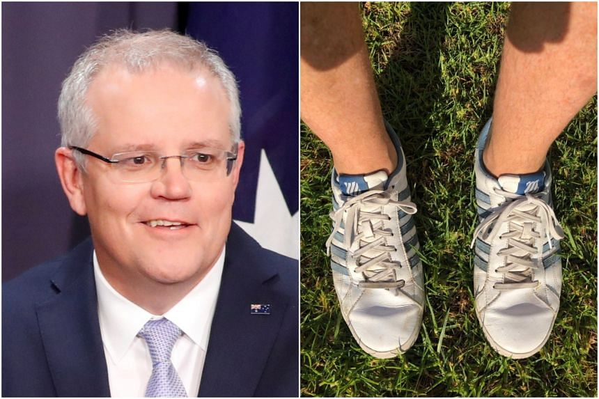 Australia's Prime Minister Scott Morrison posted a picture of his old blue and what-was-once-white trainers (above), laughing off a clumsy attempt by aides to Photoshop him wearing snazzier footwear.