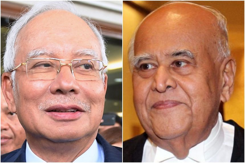 Former Malaysian prime minister Najib Razak (left) filed an application to disqualify Gopal Sri Ram, a retired former federal court judge, as the lead prosecutor in the 1Malaysia Development Berhad trial.
