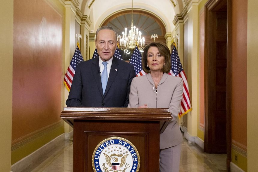 Speaker Nancy Pelosi speaks from her office at the Capitol beside senator Chuck Schumer, the minority leader, as they delivered a joint response to the President.