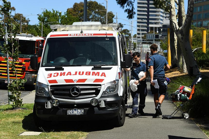Paramedics are seen outside the South Korean consulate in Melbourne, Australia, on Jan 9, 2019.