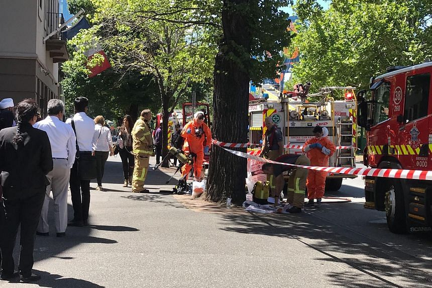Hazmat and fire crew working outside the Indian and French consulates on St Kilda Road in Melbourne, Australia, on Jan 9, 2019.