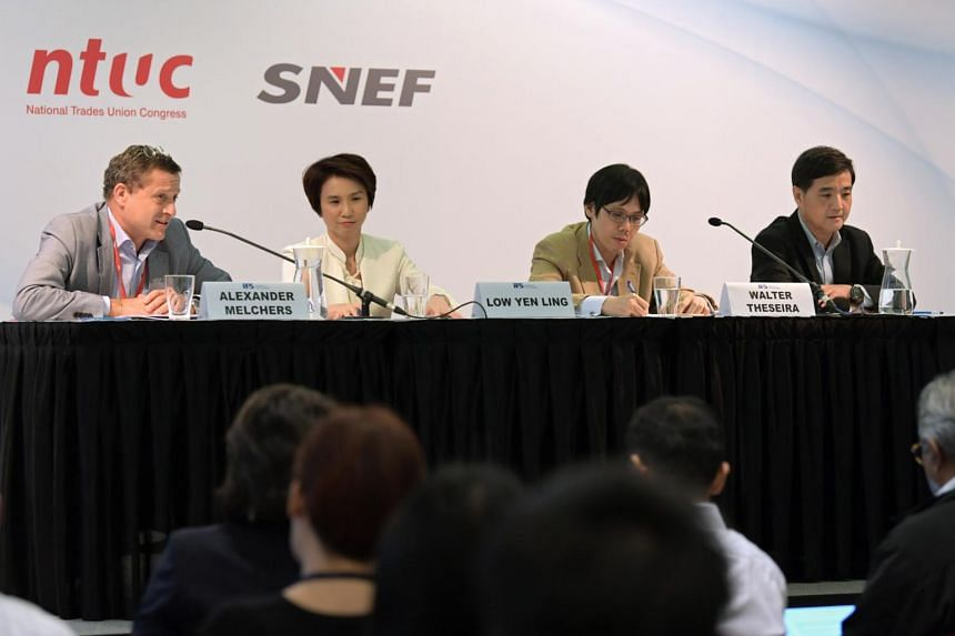 (From left)  Singapore National Employers Federation vice-president Alexander Melchers, Senior Parliamentary Secretary for Manpower and Education Low Yen Ling, Nominated MP Walter Theseira and NTUC deputy secretary-general Heng Chee How at an IPS For